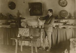 Bernard Leach at an exhibition of his work, Tokyo, circa 1920