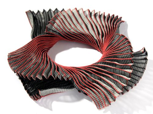 Three-dimensional textile jewellery, 'Triple Spiral', silk and steel. Ann Richards, 2008. © Ann Richards / Crafts Study Centre (2012.15.5.4)