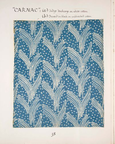 Page from Volume 1 of 'Phyllis Barron 1890–1964 Dorothy Larcher 1884–1952: A record of their block-printed textiles' compiled by Robin Tanner in the 1970s, showing the design 'Butterfly'. © Crafts Study Centre (2001.1.a.38)