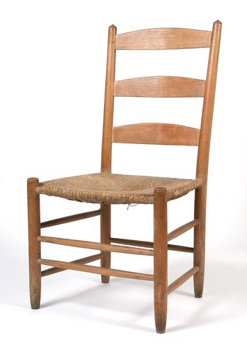 Ladderback dining chair, ash with a rush seat. Edward Gardiner, pre-1935. © Estate of the artist / Crafts Study Centre (F.74.2.a)