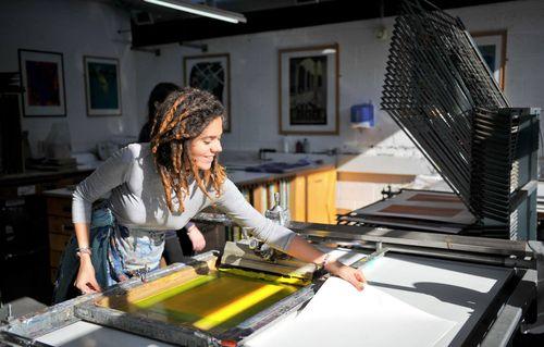 Student in Print Workshop at UCA Canterbury