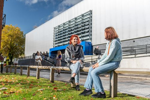 Students outside the Film & Media Centre