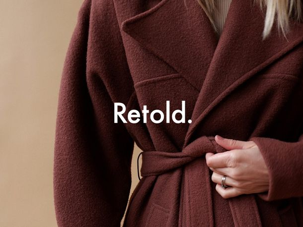 Cover art for Clare Lewis' Retold website, showing a vintage coat