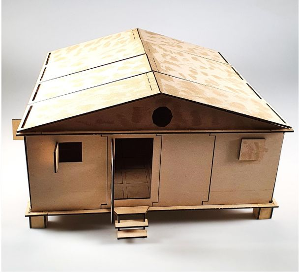 A scale model of a refugee shelter by UCA student Muhannad Darwish
