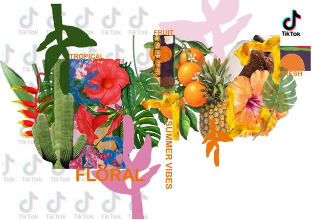 Yasmine Cerbah's TikTok x GFW design showing tropical colours