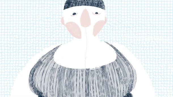 A still from Changing Room by Izzy Argent. An animated woman struggles to get into her swimsuit