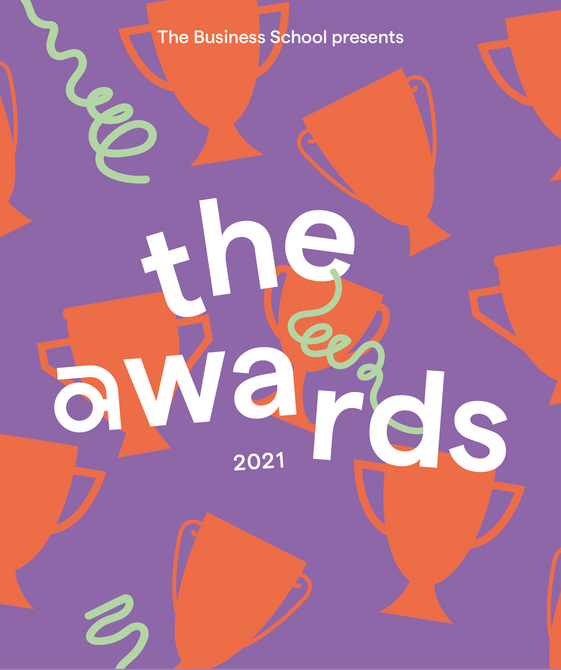 Red and purple graphic with the words 'the awards'