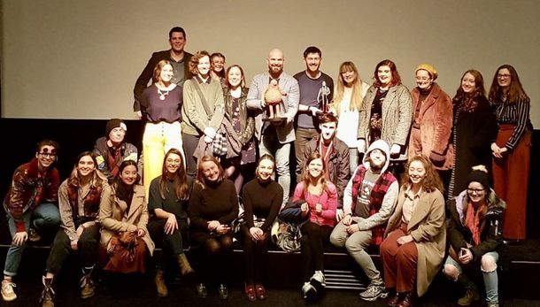 Chris Butler, centre back, with BA (Hons) Animation students in London last week