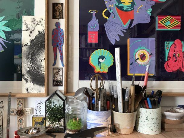 Printmaking technician Léa Dalissier's workstation
