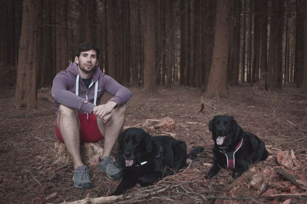 Technical Tutor Adam Thomas with his dogs