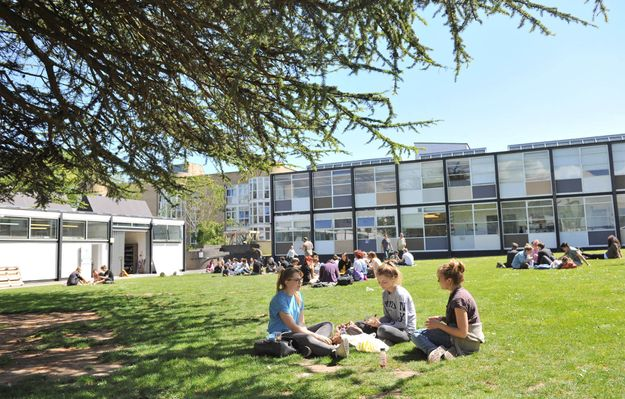 Outside the UCA Canterbury campus on a sunny day