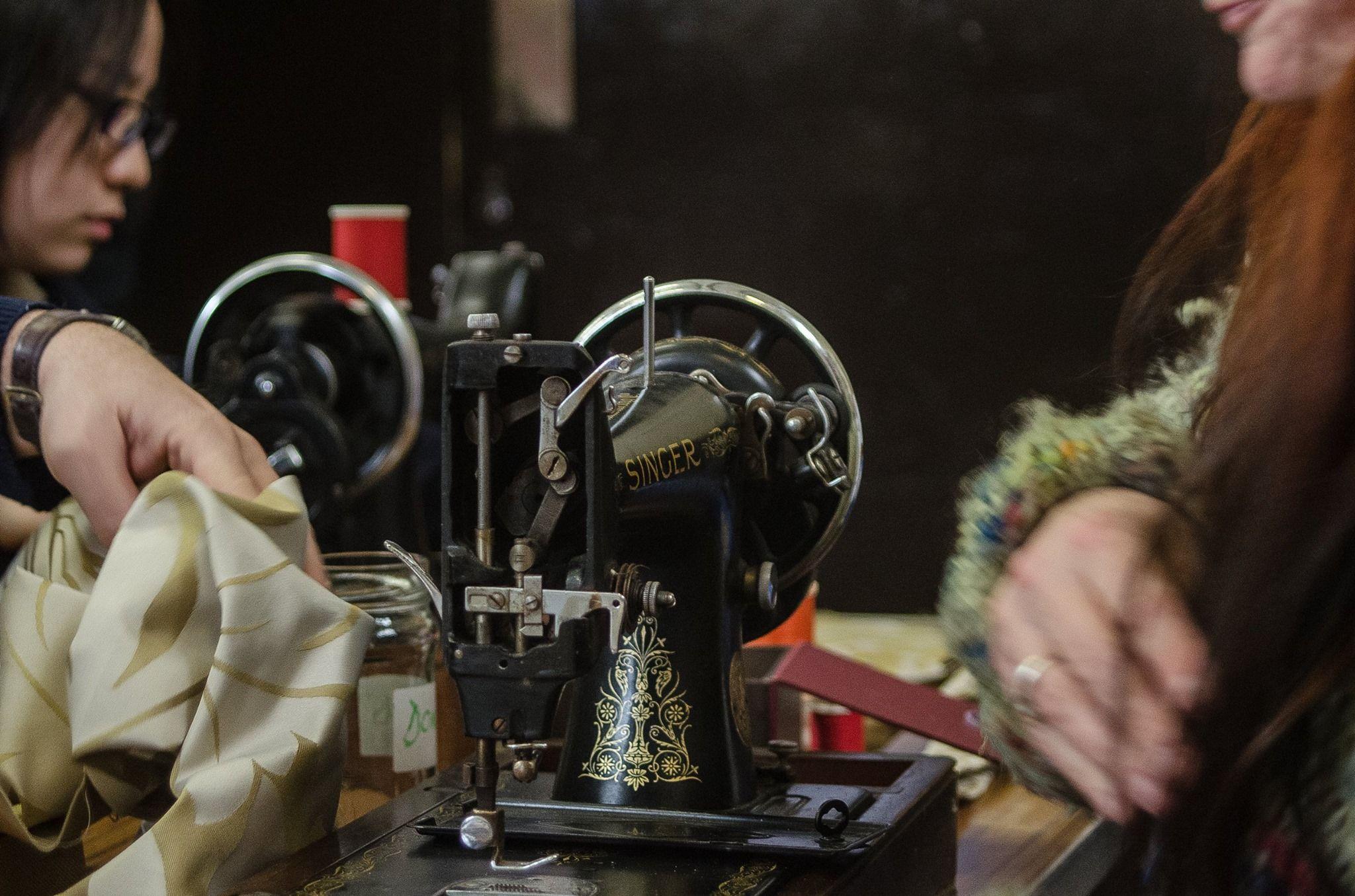 Clothing being repaired at UCA Farnham's Repair Cafe