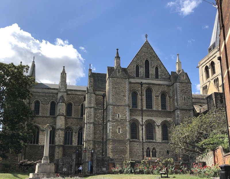 Rochester cathedral with a blue sky above
